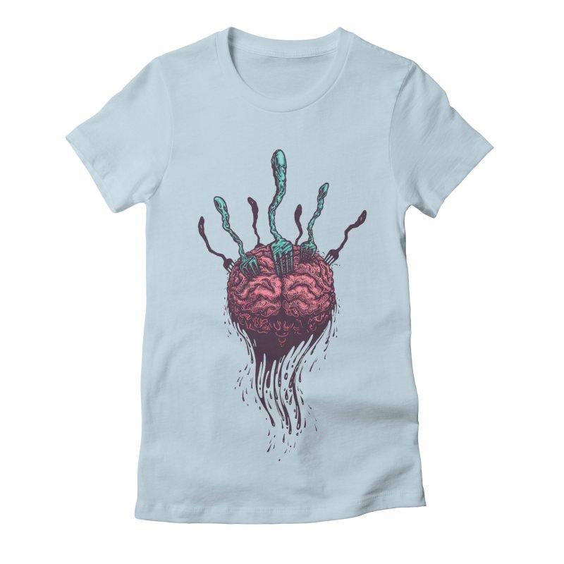Stop forking my brain Women's Fitted T-Shirt by eleken's Artist Shop
