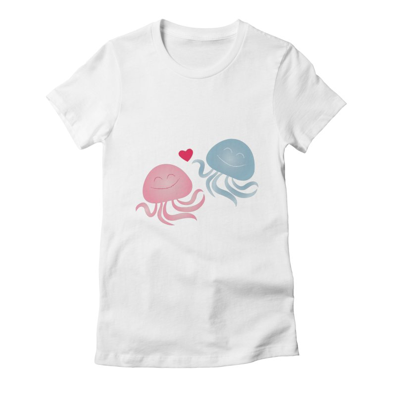 Jellyfish in love Women's Fitted T-Shirt by elenadalia's Artist Shop