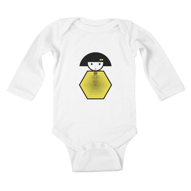 Geometric Matryoshka Kids Baby Longsleeve Bodysuit by elenadalia's Artist Shop