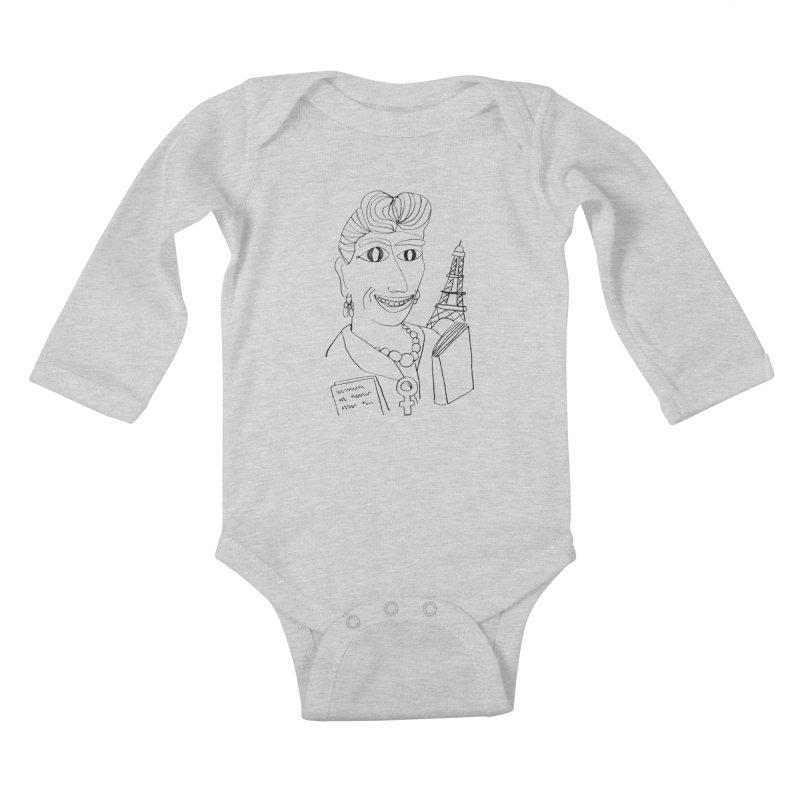 Simone de Beauvoir - Illustration by Elena Losada Kids Baby Longsleeve Bodysuit by elenalosadaShop's Artist Shop