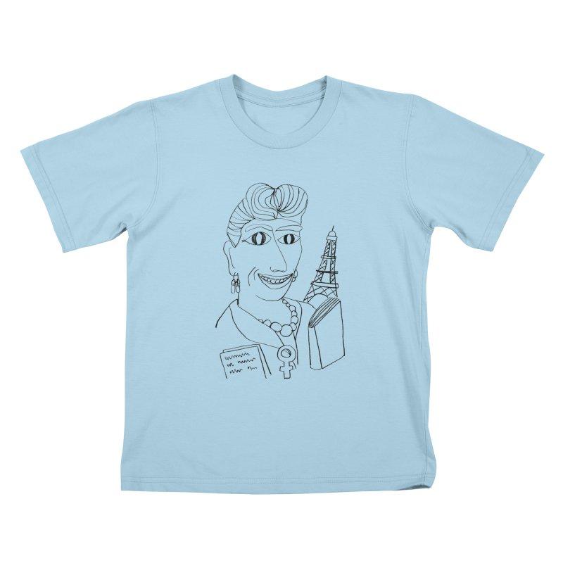 Simone de Beauvoir - Illustration by Elena Losada Kids T-shirt by elenalosadaShop's Artist Shop