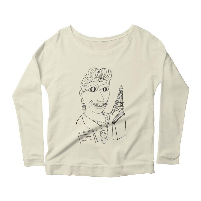 Simone de Beauvoir - Illustration by Elena Losada Women's Scoop Neck Longsleeve T-Shirt by ElenaLosada Artist Shop
