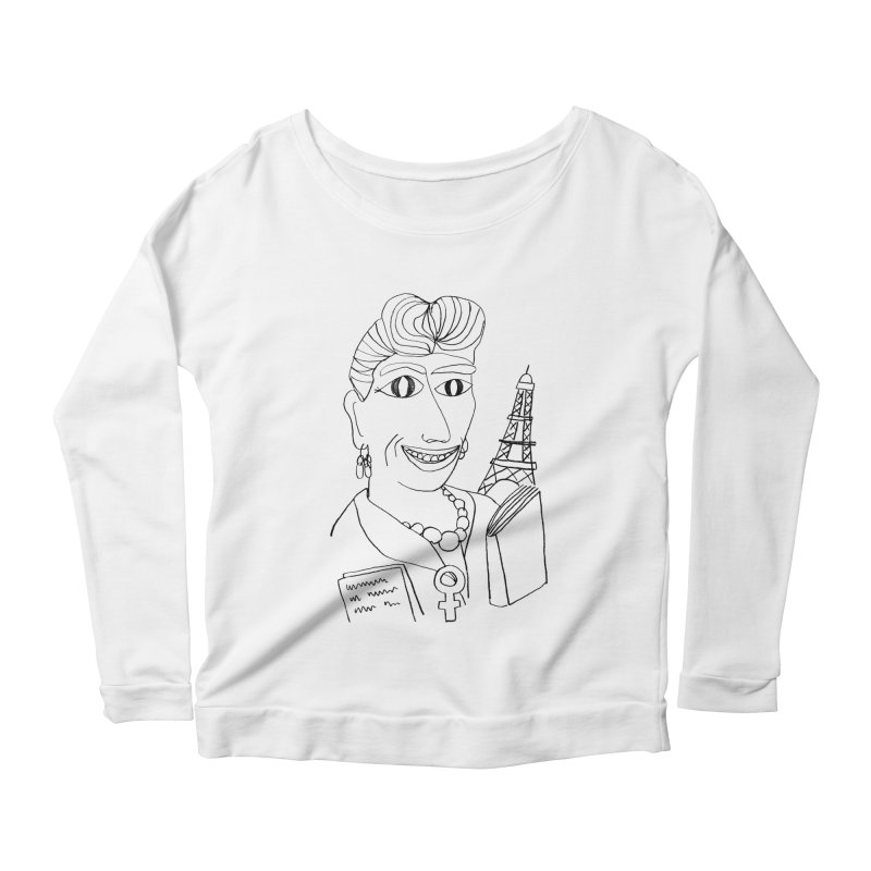 Simone de Beauvoir - Illustration by Elena Losada Women's Longsleeve Scoopneck  by elenalosadaShop's Artist Shop