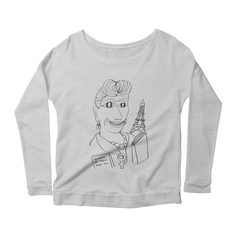 Simone de Beauvoir - Illustration by Elena Losada Women's Longsleeve Scoopneck  by ElenaLosada Artist Shop