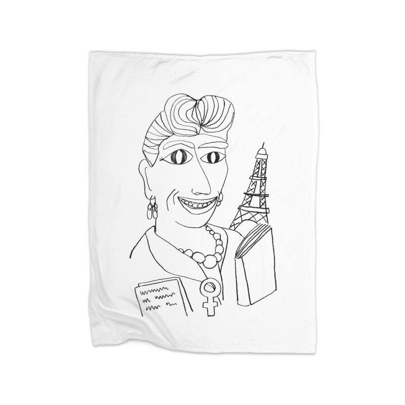 Simone de Beauvoir - Illustration by Elena Losada Home Blanket by ElenaLosada Artist Shop