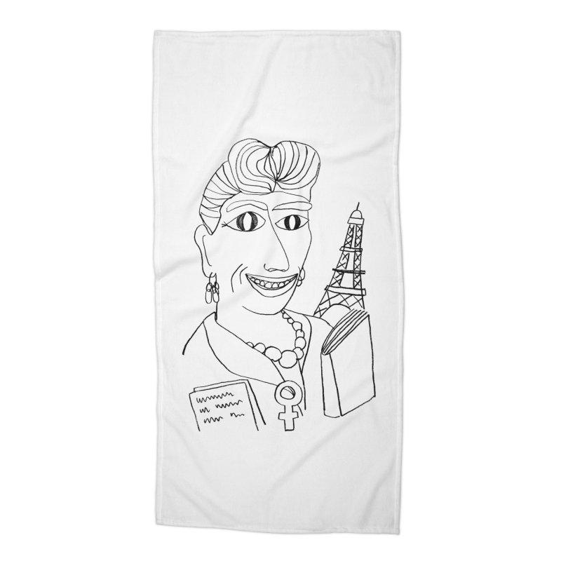 Simone de Beauvoir - Illustration by Elena Losada Accessories Beach Towel by elenalosadaShop's Artist Shop