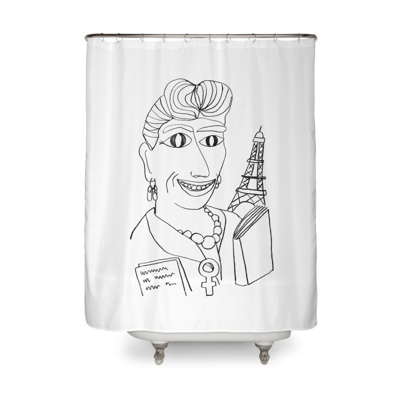 Simone de Beauvoir - Illustration by Elena Losada Home Shower Curtain by ElenaLosada Artist Shop