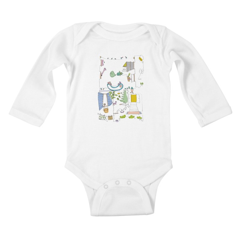 Some doodles in the city by Elena Losada Kids Baby Longsleeve Bodysuit by elenalosadaShop's Artist Shop