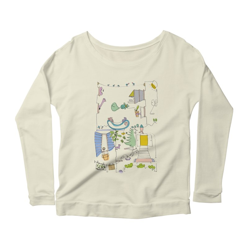 Some doodles in the city by Elena Losada Women's Longsleeve Scoopneck  by ElenaLosada Artist Shop