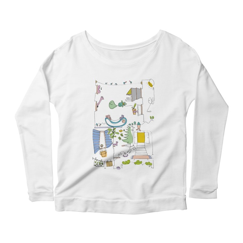 Some doodles in the city by Elena Losada Women's Longsleeve Scoopneck  by elenalosadaShop's Artist Shop