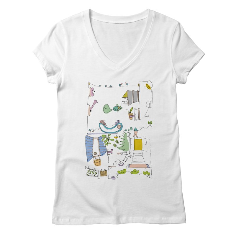Some doodles in the city by Elena Losada Women's V-Neck by elenalosadaShop's Artist Shop