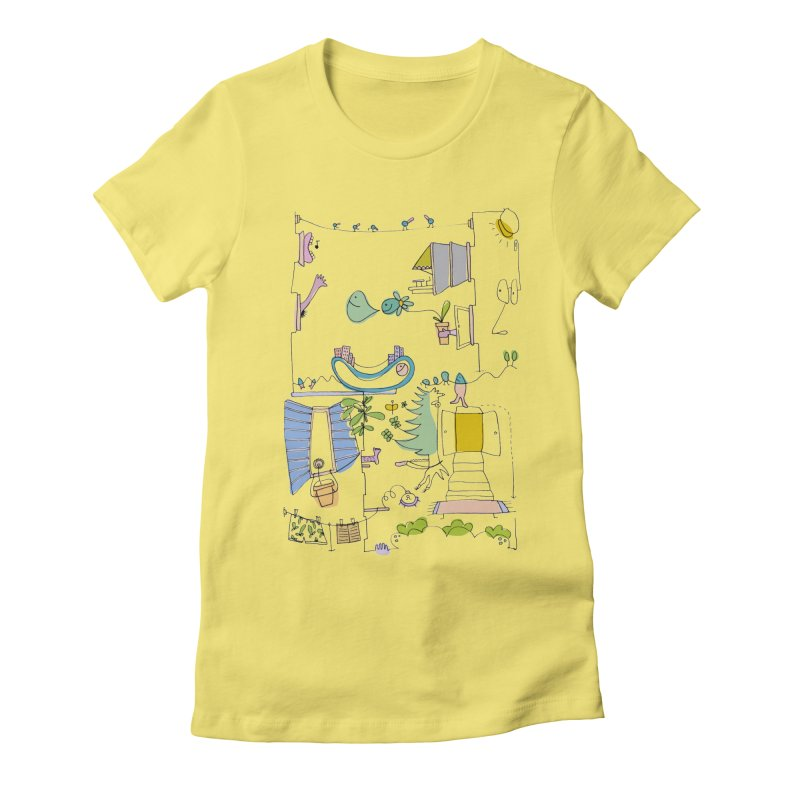 Some doodles in the city by Elena Losada Women's Fitted T-Shirt by elenalosadaShop's Artist Shop