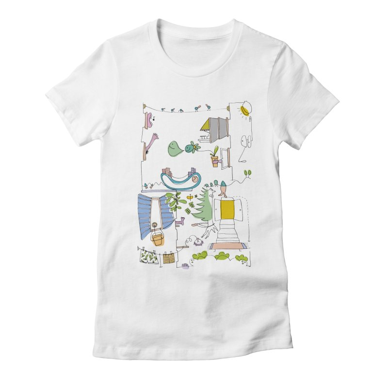 Some doodles in the city by Elena Losada Women's Fitted T-Shirt by ElenaLosada Artist Shop