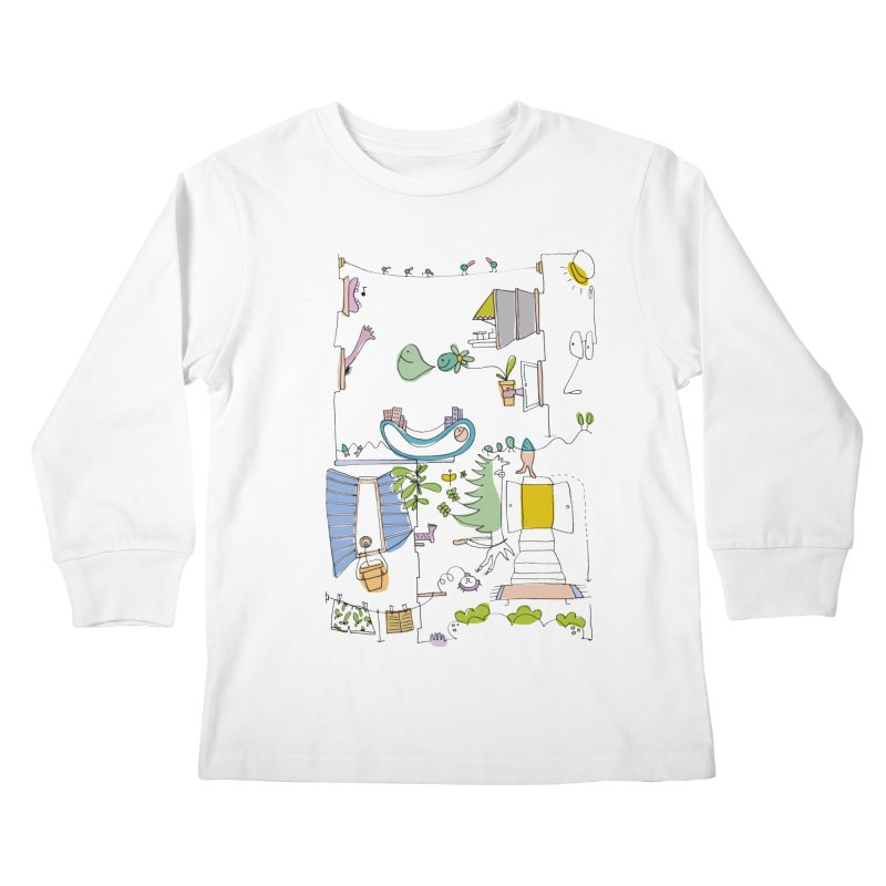 Some doodles in the city by Elena Losada Kids Longsleeve T-Shirt by elenalosadaShop's Artist Shop