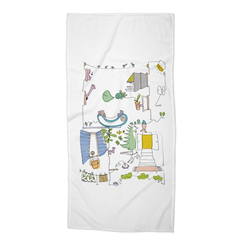 Some doodles in the city by Elena Losada Accessories Beach Towel by elenalosadaShop's Artist Shop