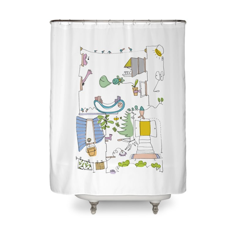 Some doodles in the city by Elena Losada Home Shower Curtain by ElenaLosada Artist Shop