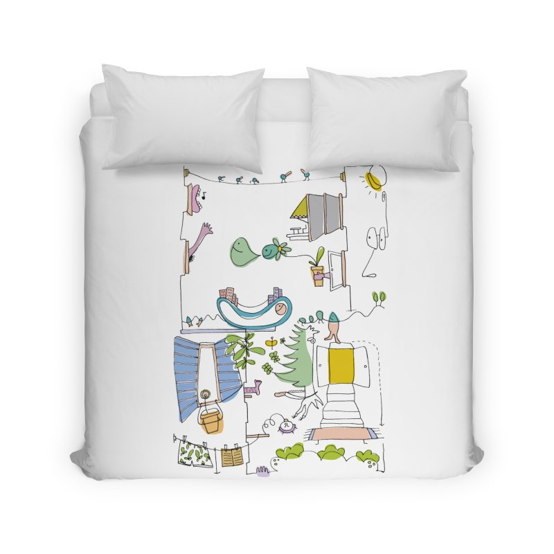 Some doodles in the city by Elena Losada Home Duvet by elenalosadaShop's Artist Shop