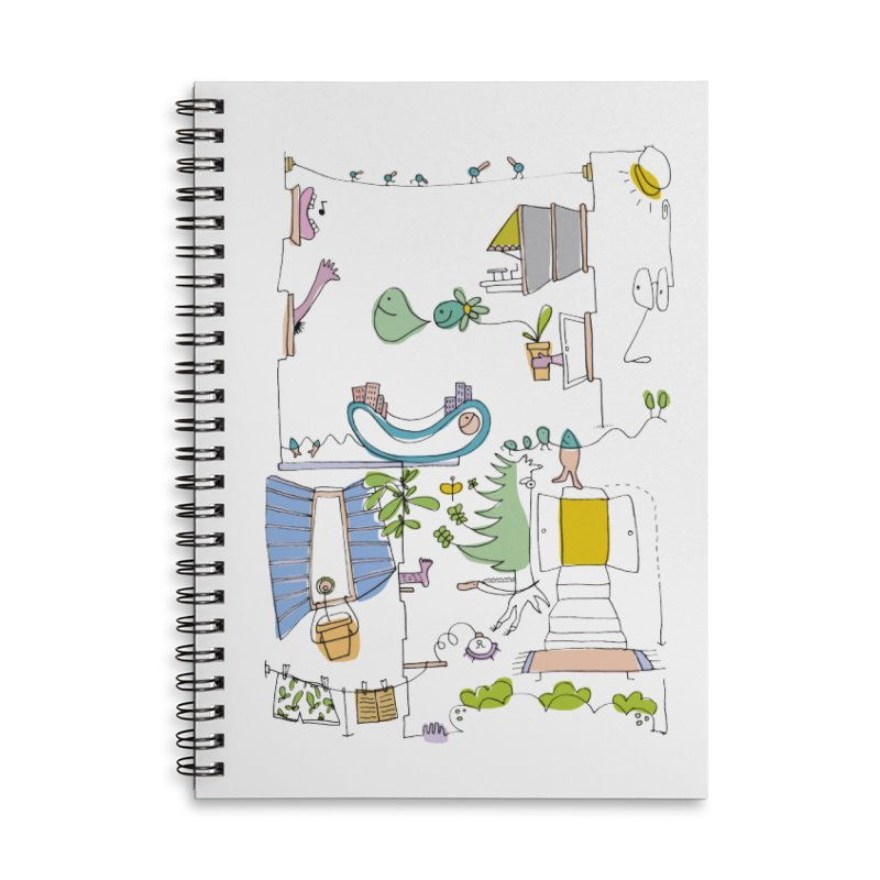 Some doodles in the city by Elena Losada Accessories Lined Spiral Notebook by ElenaLosada Artist Shop