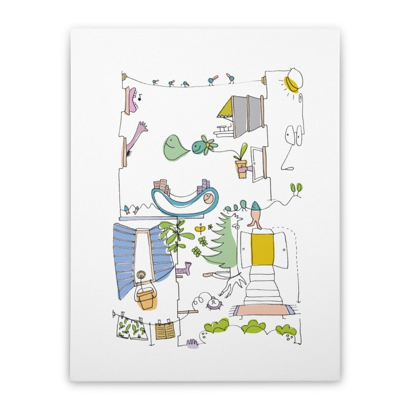 Some doodles in the city by Elena Losada Home Stretched Canvas by elenalosadaShop's Artist Shop