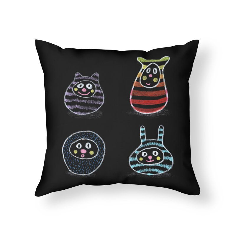 SushiFaces by Elena Losada Home Throw Pillow by ElenaLosada Artist Shop