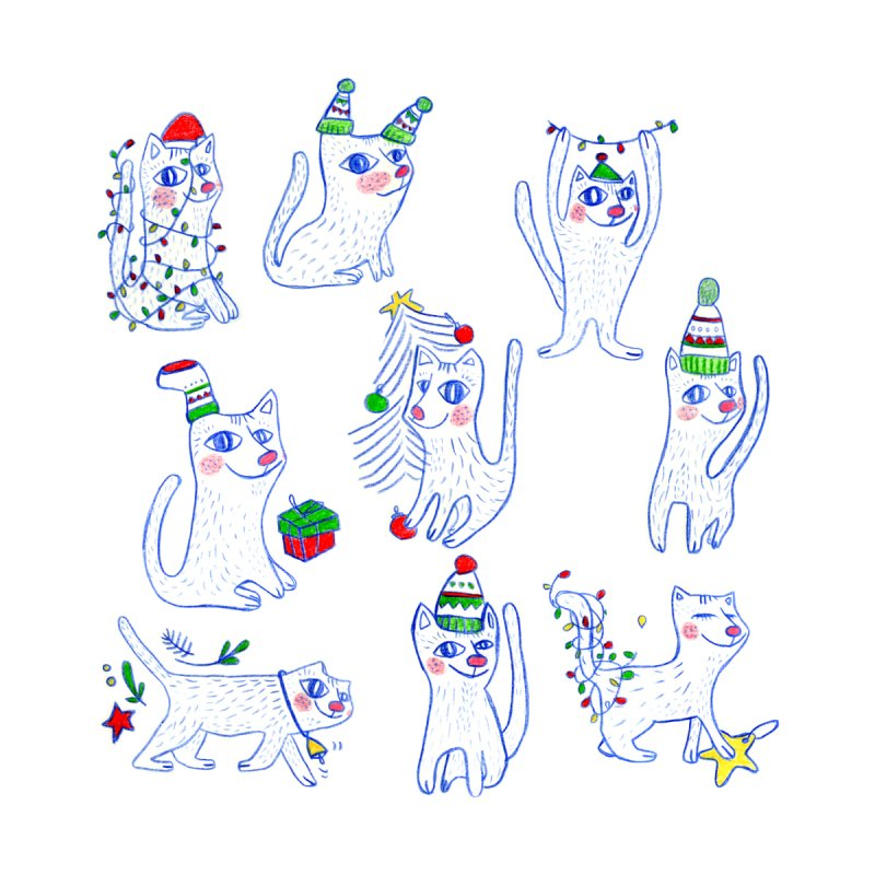 Christmas Cats by elenalosadaShop's Artist Shop