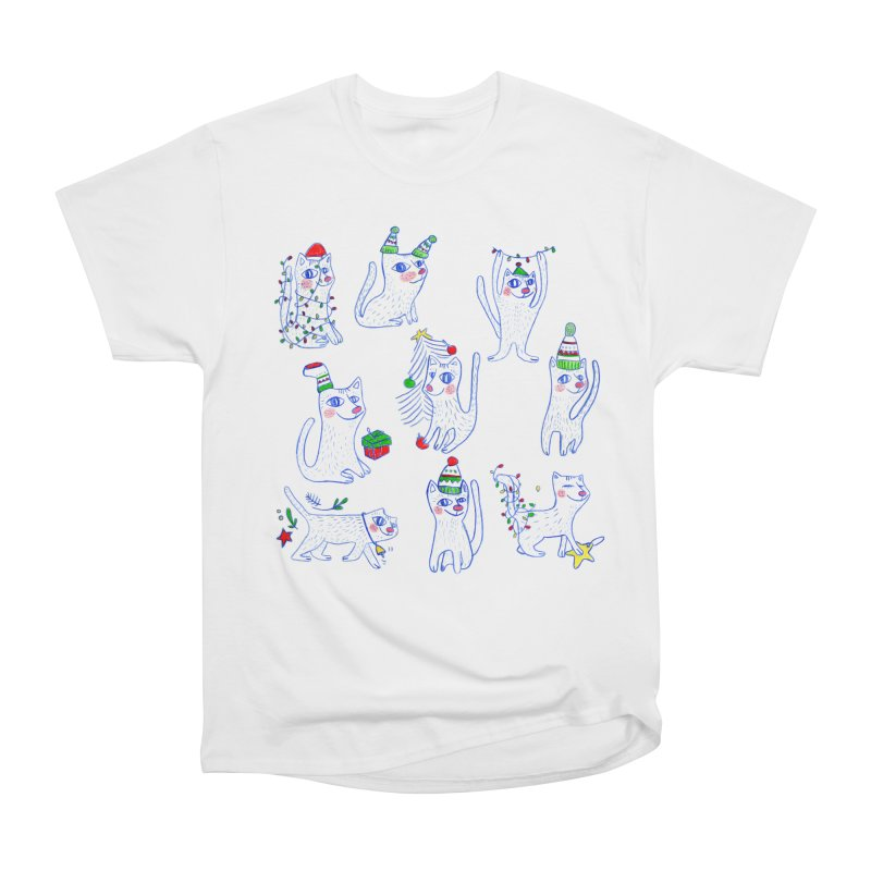 Christmas Cats Men's Heavyweight T-Shirt by ElenaLosada Artist Shop