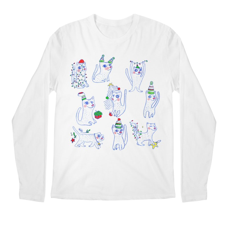 Christmas Cats Men's Longsleeve T-Shirt by elenalosadaShop's Artist Shop