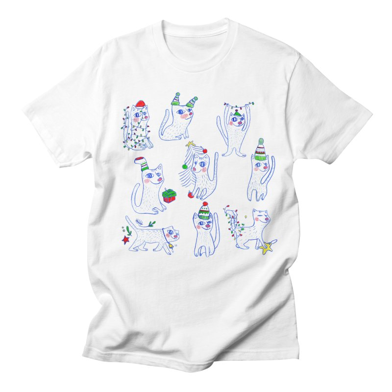 Christmas Cats Women's Regular Unisex T-Shirt by ElenaLosada Artist Shop