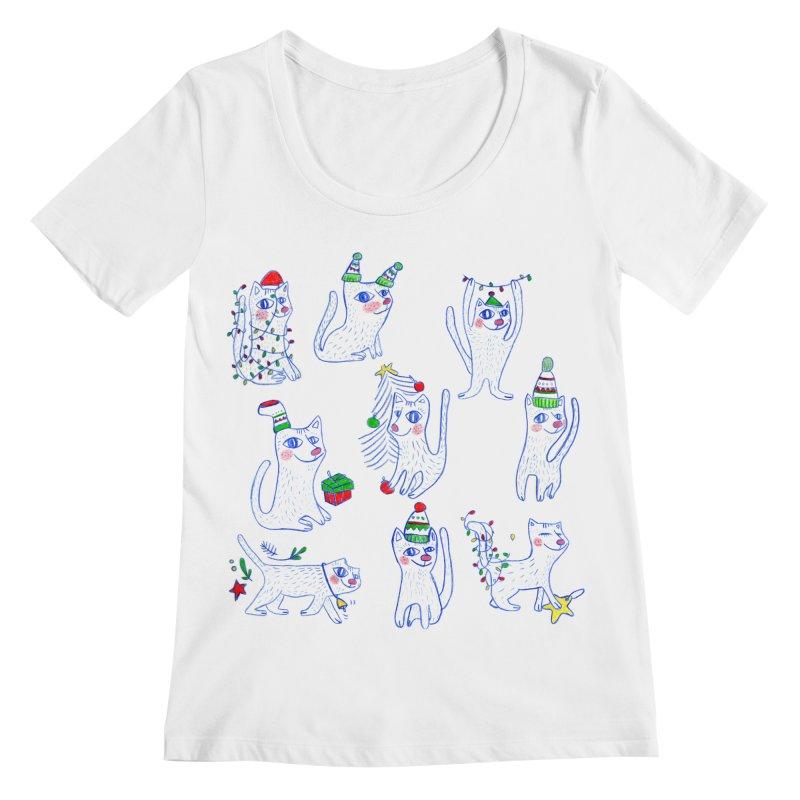 Christmas Cats Women's Regular Scoop Neck by ElenaLosada Artist Shop