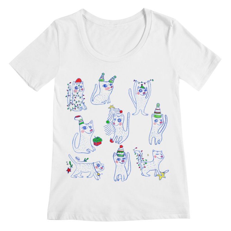 Christmas Cats Women's Regular Scoop Neck by ElenaLosada Artist Shop
