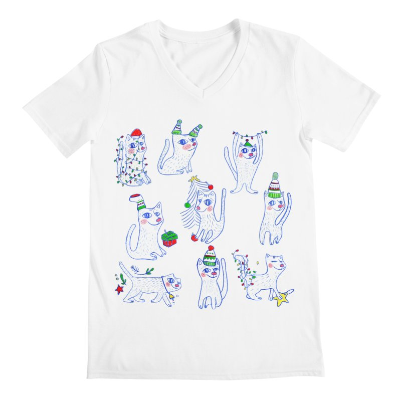 Christmas Cats Men's V-Neck by ElenaLosada Artist Shop