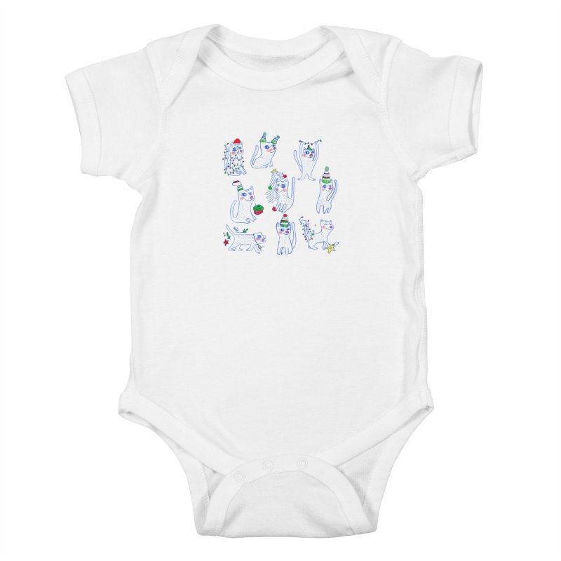 Christmas Cats Kids Baby Bodysuit by ElenaLosada Artist Shop