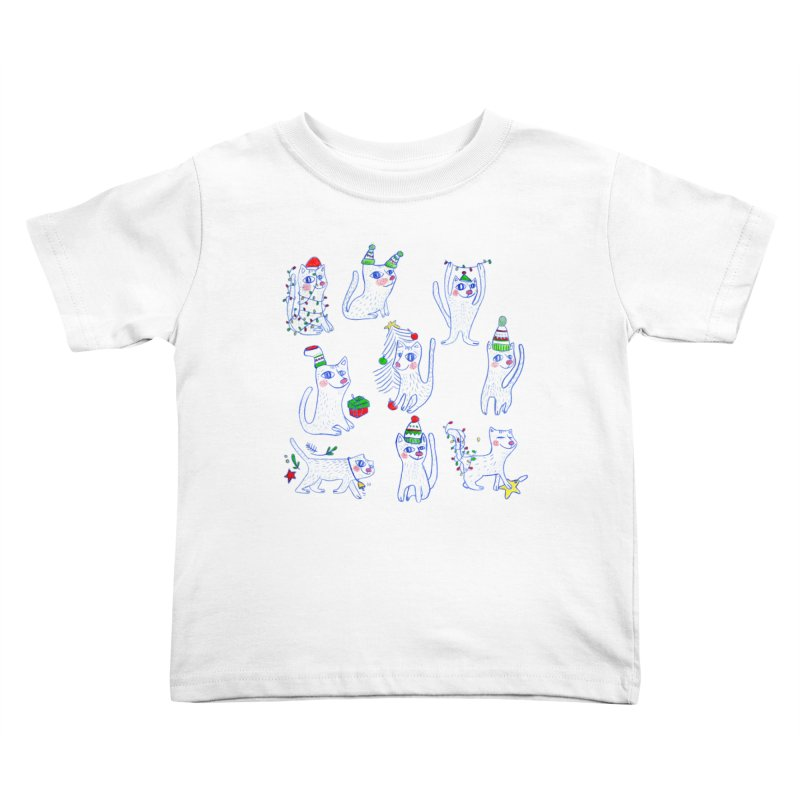 Christmas Cats Kids Toddler T-Shirt by elenalosadaShop's Artist Shop
