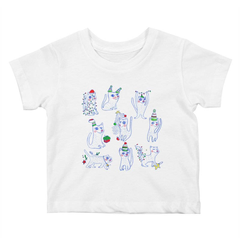 Christmas Cats Kids Baby T-Shirt by ElenaLosada Artist Shop