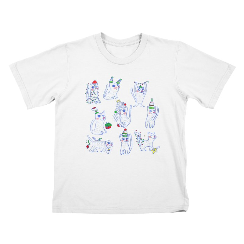 Christmas Cats Kids T-Shirt by ElenaLosada Artist Shop