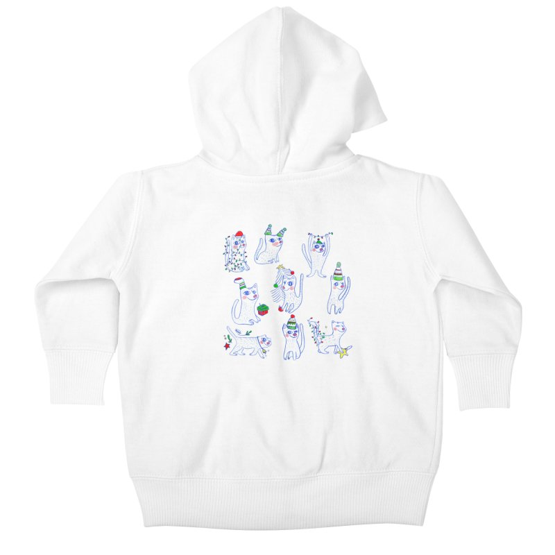 Christmas Cats Kids Baby Zip-Up Hoody by ElenaLosada Artist Shop