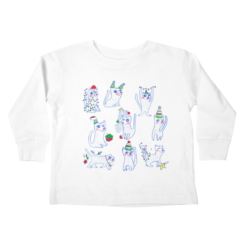 Christmas Cats Kids Toddler Longsleeve T-Shirt by ElenaLosada Artist Shop