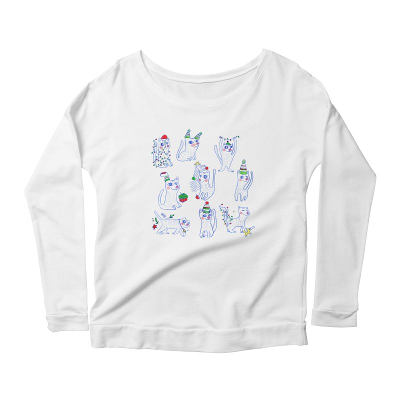 Christmas Cats Women's Longsleeve Scoopneck  by ElenaLosada Artist Shop