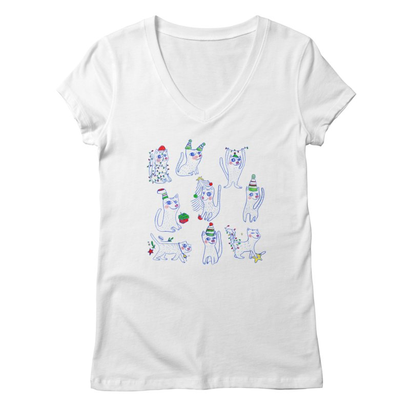Christmas Cats Women's V-Neck by elenalosadaShop's Artist Shop