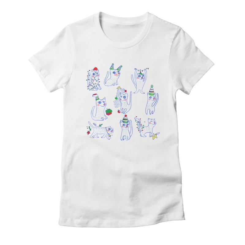 Christmas Cats Women's Fitted T-Shirt by elenalosadaShop's Artist Shop