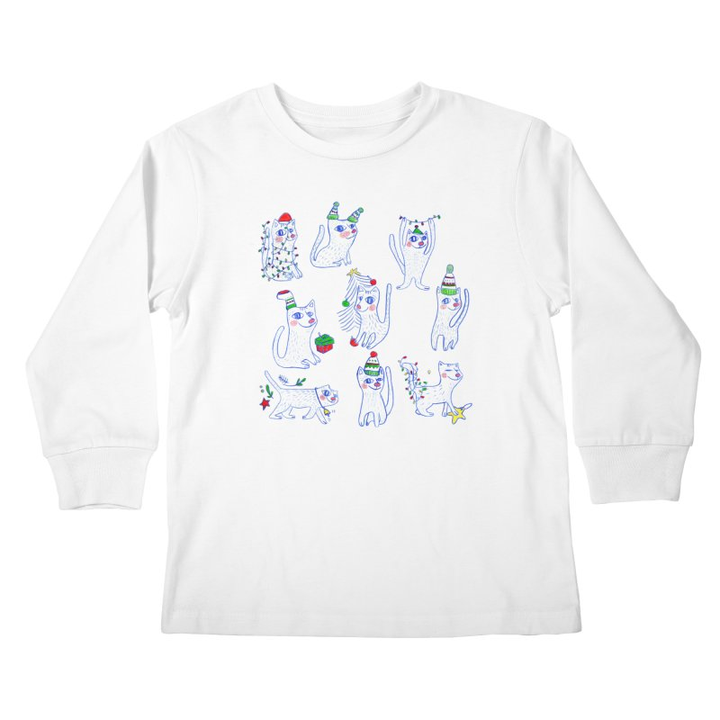 Christmas Cats Kids Longsleeve T-Shirt by ElenaLosada Artist Shop