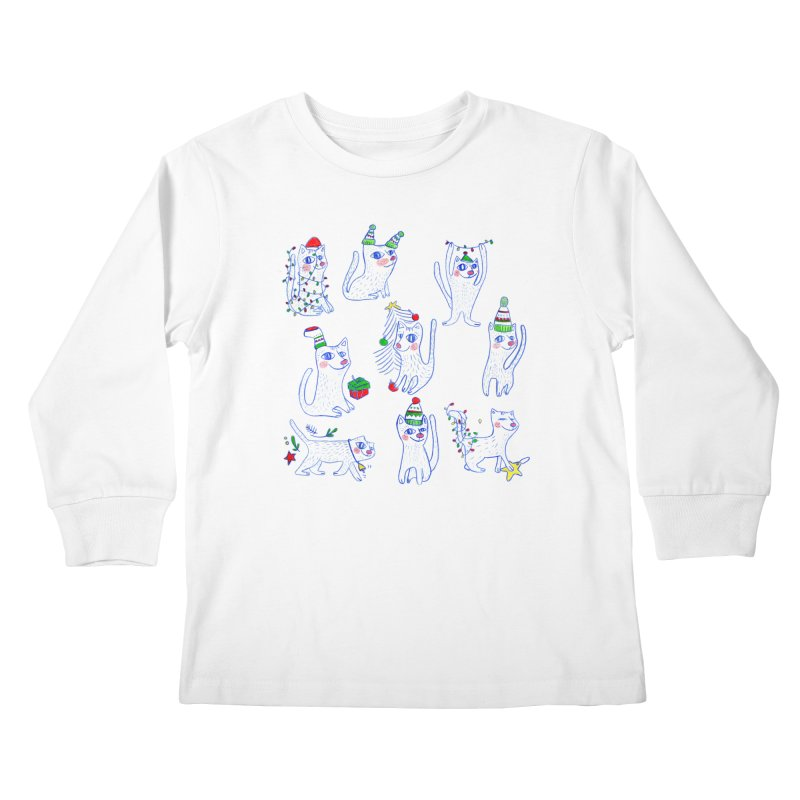 Christmas Cats Kids Longsleeve T-Shirt by ElenaLosada Artist Shop