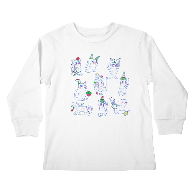 Christmas Cats Kids Longsleeve T-Shirt by elenalosadaShop's Artist Shop
