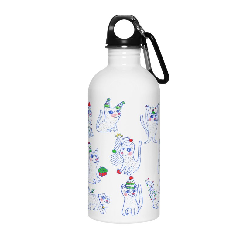 Christmas Cats Accessories Water Bottle by ElenaLosada Artist Shop