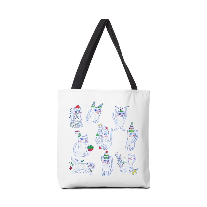 Christmas Cats Accessories Bag by elenalosadaShop's Artist Shop