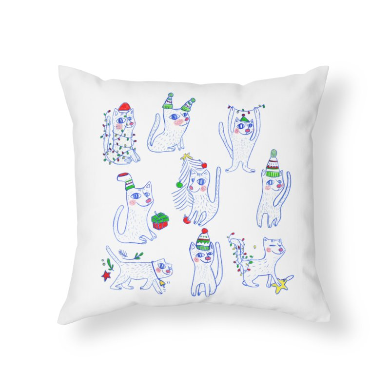 Christmas Cats Home Throw Pillow by elenalosadaShop's Artist Shop