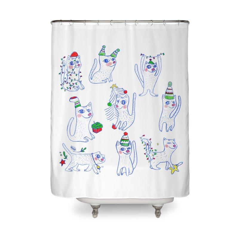 Christmas Cats Home Shower Curtain by ElenaLosada Artist Shop