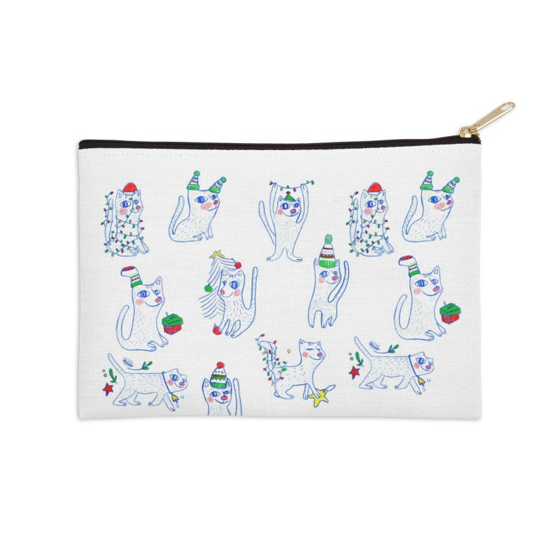 Christmas Cats Accessories Zip Pouch by elenalosadaShop's Artist Shop