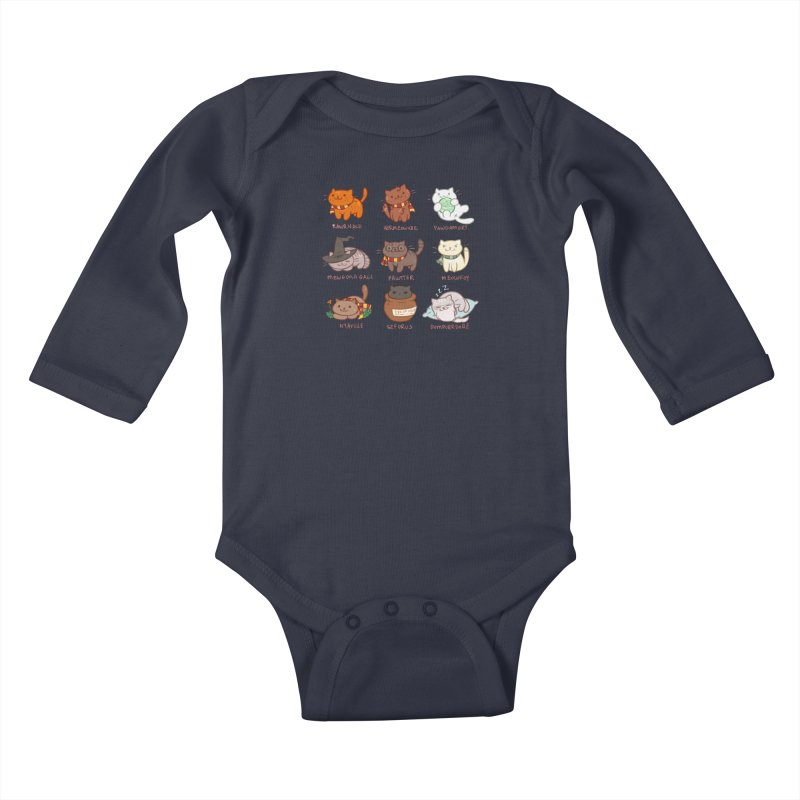 Potter cats Kids Baby Longsleeve Bodysuit by Elentori