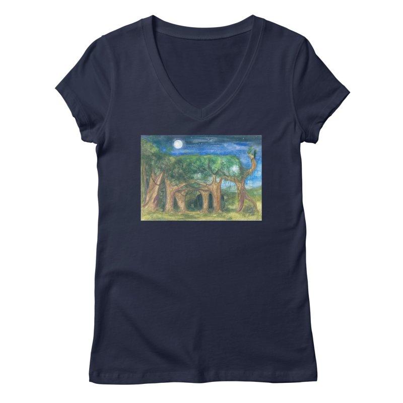 Elephant Forest Women's V-Neck by Trunks & Leaves' Artist Shop